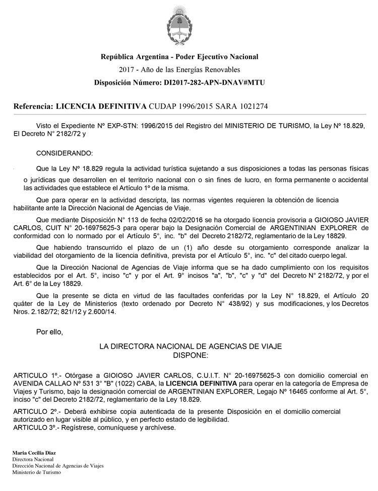 Licencia Definitiva de Argentinian Explorer