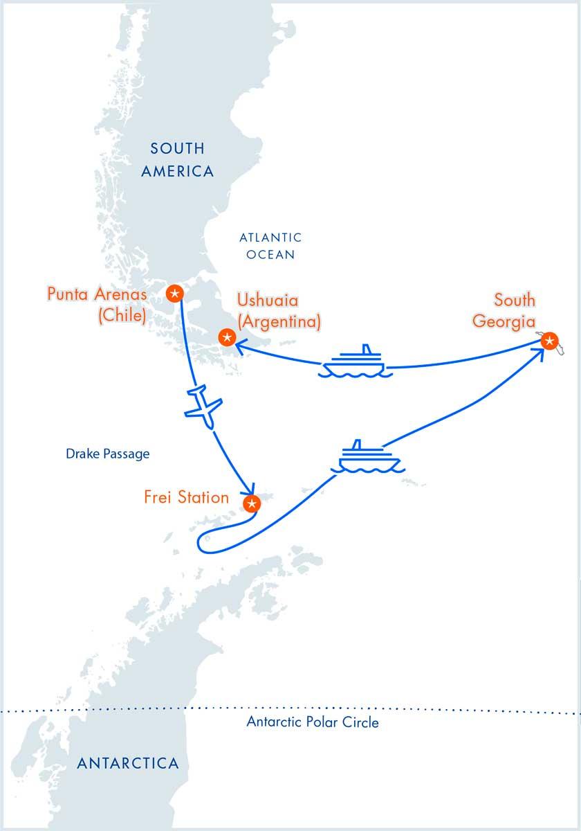 Aéreo-Cruzeiro Antártica e Geórgia do Sul no M/V Magellan Explorer