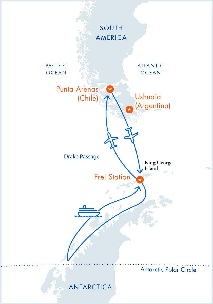 Air-Cruise: Antarctic Polar Circle on the M/V Ocean Nova