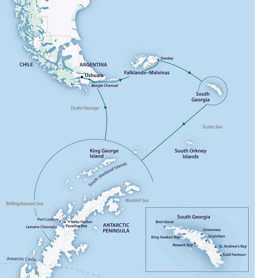 Antarctique et îles subantarctiques dans le M/V Greg Mortimer