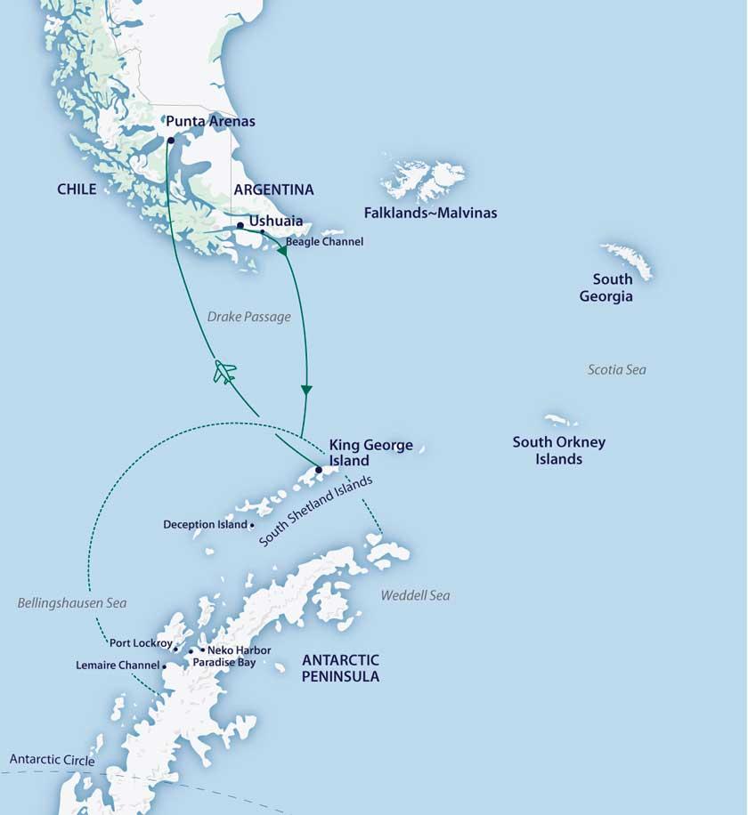 Aero-cruzeiro Antártica Clássica no no M/V Greg Mortimer - M/V Sylvia Earle