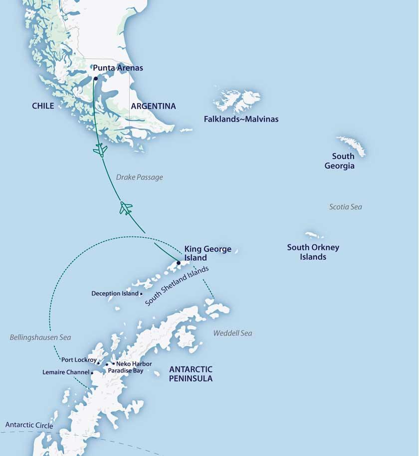 Aéro-croisière Antarctique Classique sur le M/V Greg Mortimer
