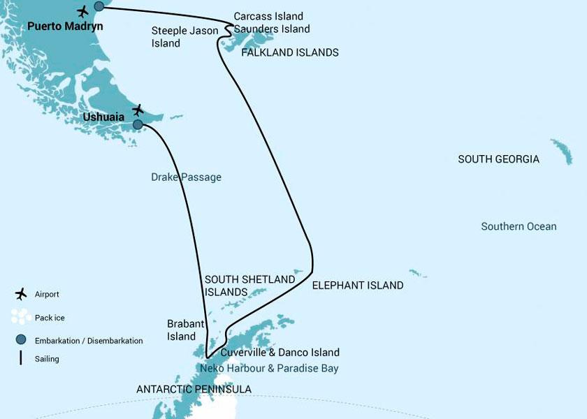 Antártica e Ilhas Elefante e Malvinas no MV Hondius