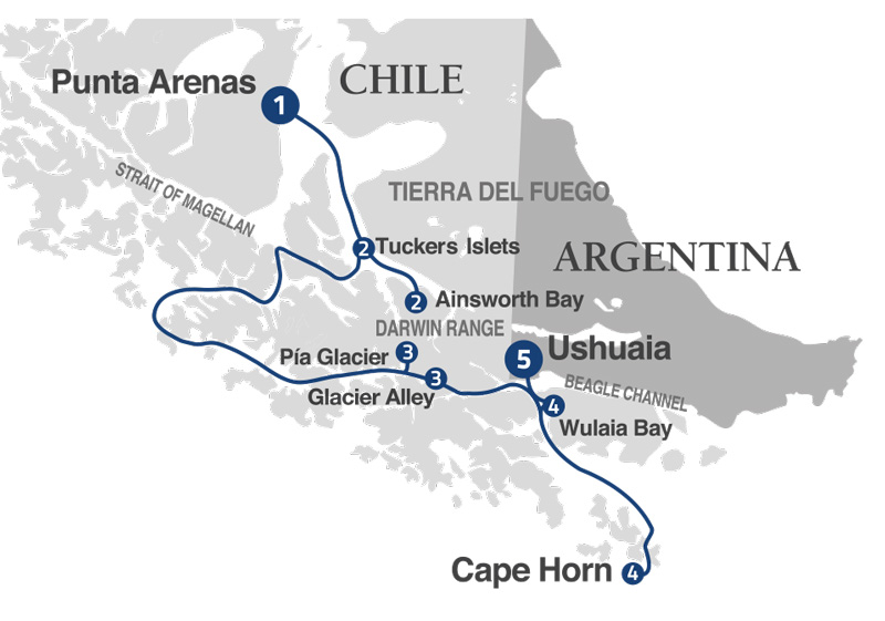 Australis in 5 days: From Punta Arenas to Ushuaia