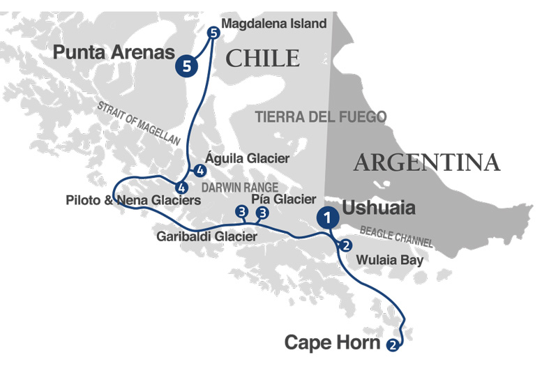 Australis in 5 days: From Ushuaia to Punta Arenas